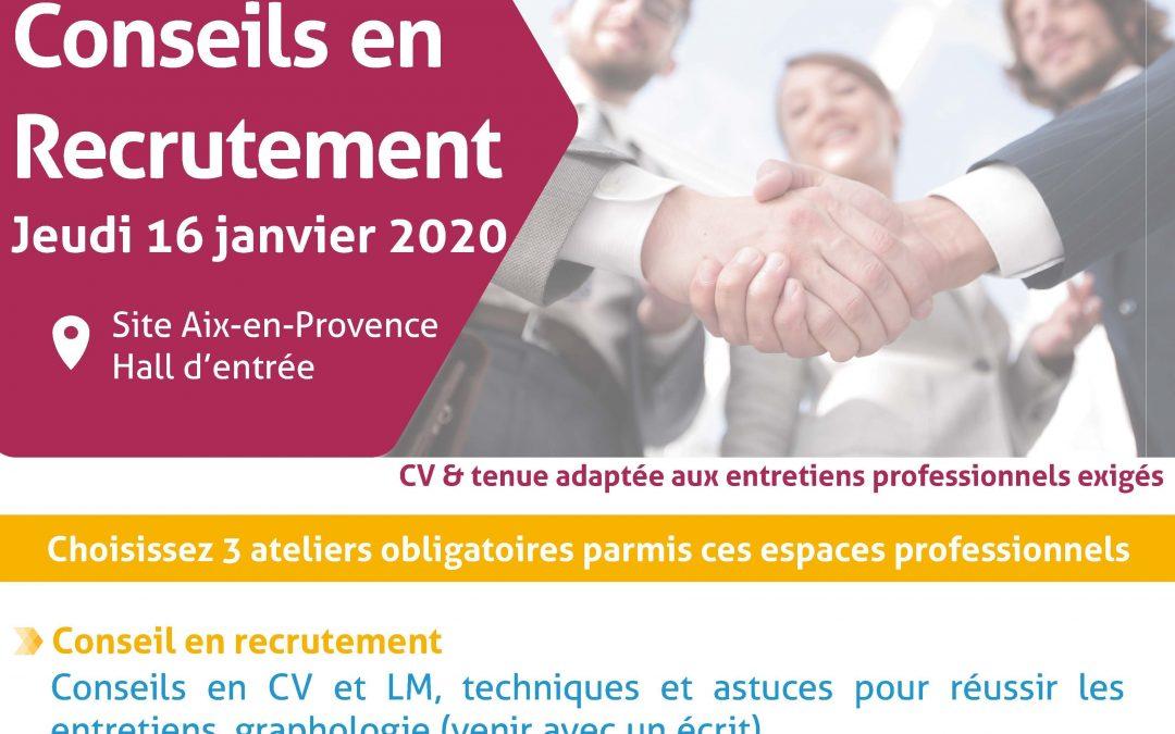 Jeudi 16 Janvier 2020 : Les ATELIERS CONSEILS EN RECRUTEMENT